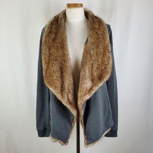 Hollister Faux Fur Trim Gray Open Front Jacket M/L